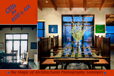 "The before photo on the left was taken with ""natural light."" The one on the right was created to be shot at evenings dusk.  I worked with my clients Randall Whitehead Lighting and Erickson Zebroski Design Group, both of San Francisco, to make the image.  This great modern house that they designed and built made a 10 page spread in California Home and Design magazine."