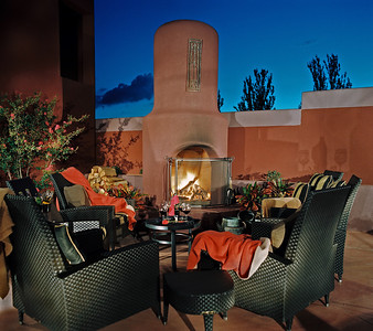 Sedona Rouge hotel in Sedona, Arizona.  This photo could have been held for the upcoming dramatic lighting section, but the canvas that allows us to paint in the lighting and give the mood is Dusk, or Magic Hour.  Not daylight, not pitch dark, but just that wonderful 15 minutes on either side of the day.  Love projecting shadows of the wine glasses onto the stucco wall.