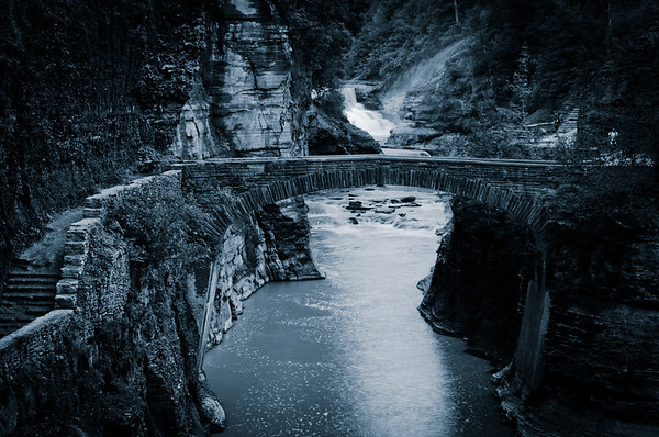 View of Bridge and Lower Falls, Letchworth State Park, New York