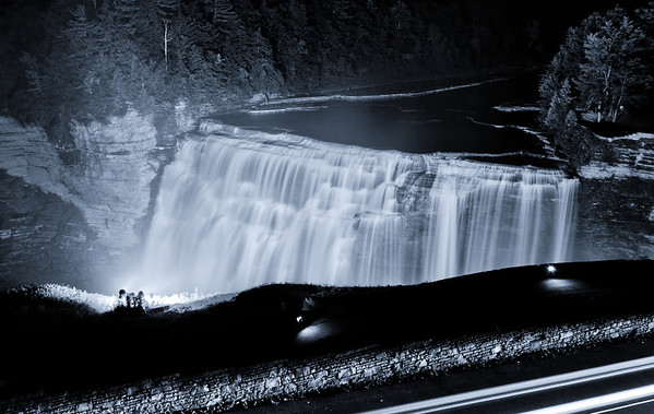 View of Middle Falls at Night, Letchworth State Park, New York