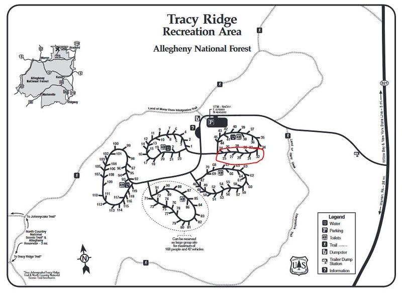 Tracy Ridge Campground Map