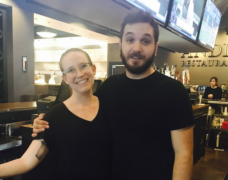 Andiamo bartenders Tessa Poirier and Joey Lua, both of Lowell