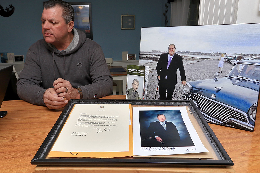 . David McDonald talks about the letter he got from former President George H.W. Bush in 2009 after he wrote to him in 2008. His letter mentioned his late dad Alexander McDonald Jr. who in the picture on the beach in Kennebunkport Maine near the former presidents home. SENTINEL & ENTERPRISE/JOHN LOVE