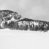 Hallett Peak and Lake Haiyaha in winter.
