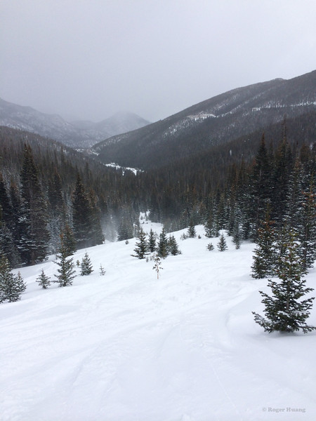 Skiing fresh powder out of Hidden Valley.