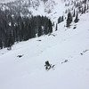 Avalanche Debris field at the base of the Hour Glass Couloir on Otis Peak.