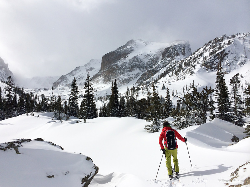 Eli approaching Lake Haiyaha with Hallett Peak in the background.
