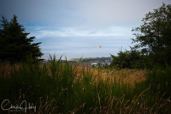 Haystack Rock in the Fog, Pacific City, Oregon