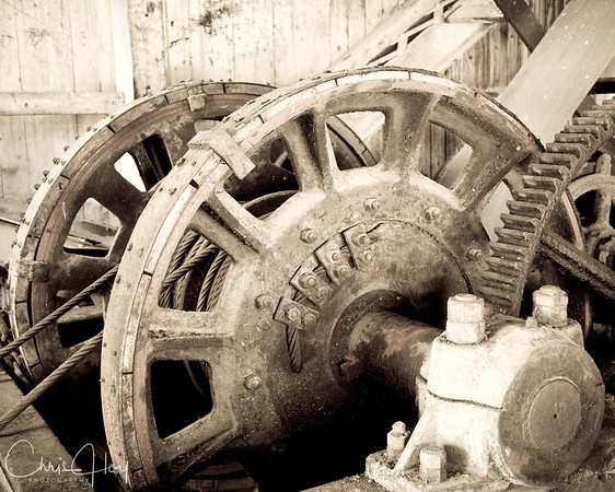 Gears inside the Gold Dredge at Sumpter, Oregon