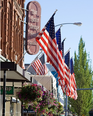 Flags at Salem's Reed Opera House Mall