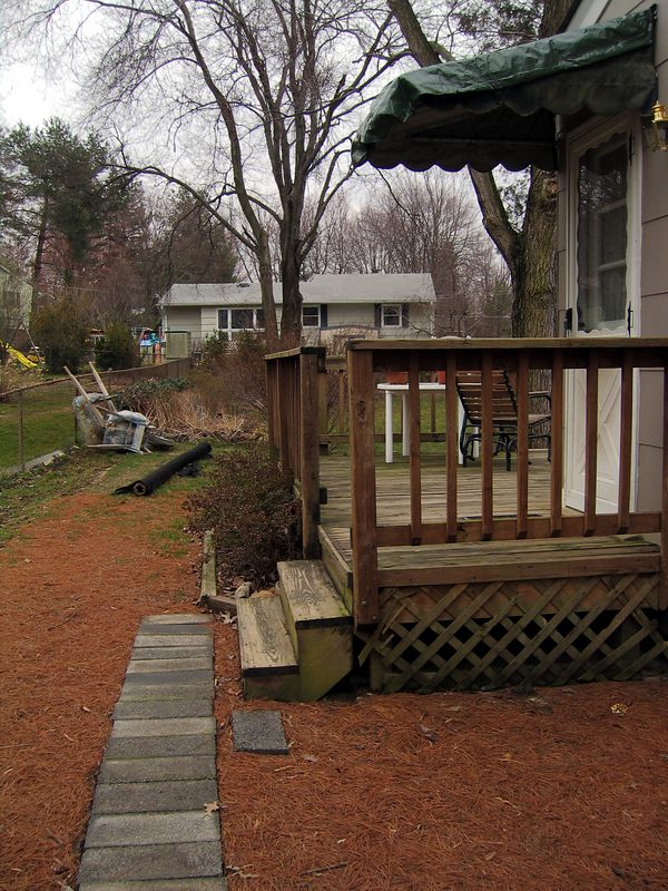 This is the north side of the house.  As you can see there's a wrap-around deck that starts here and also an entrence onto the deck from the house.