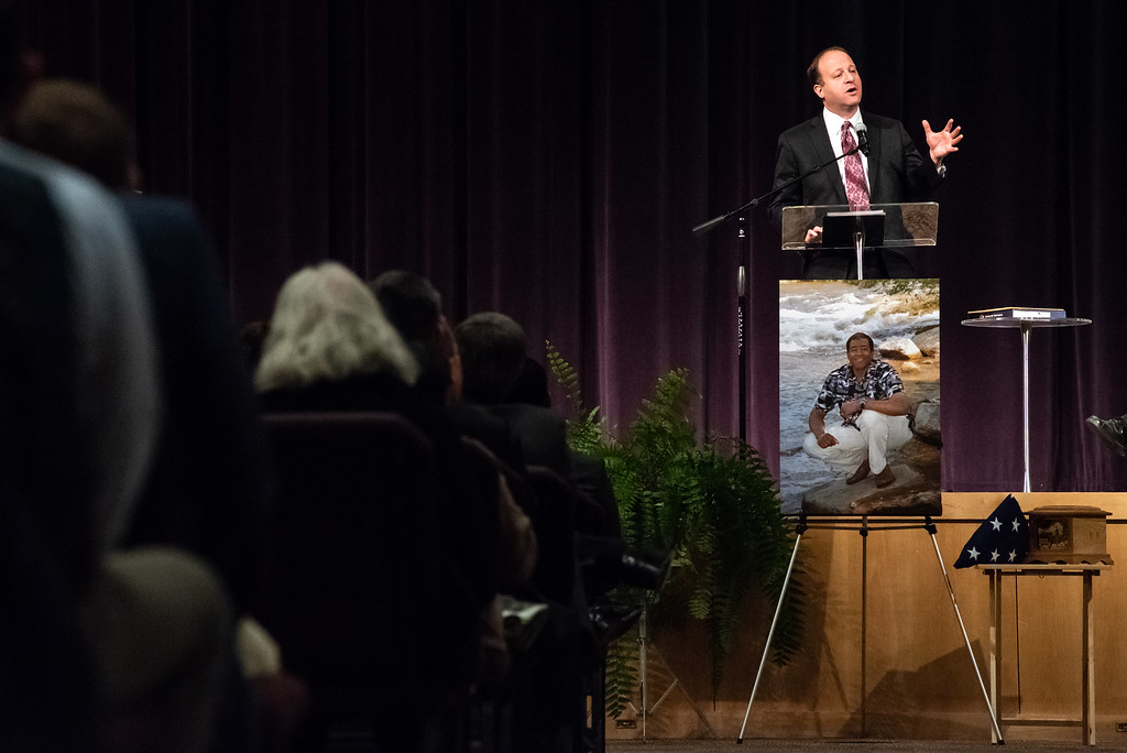 . Rep. Jared Polis speaks during a memorial service for Lew Gaiter on Saturday morning at Timberline Church in Fort Collins.