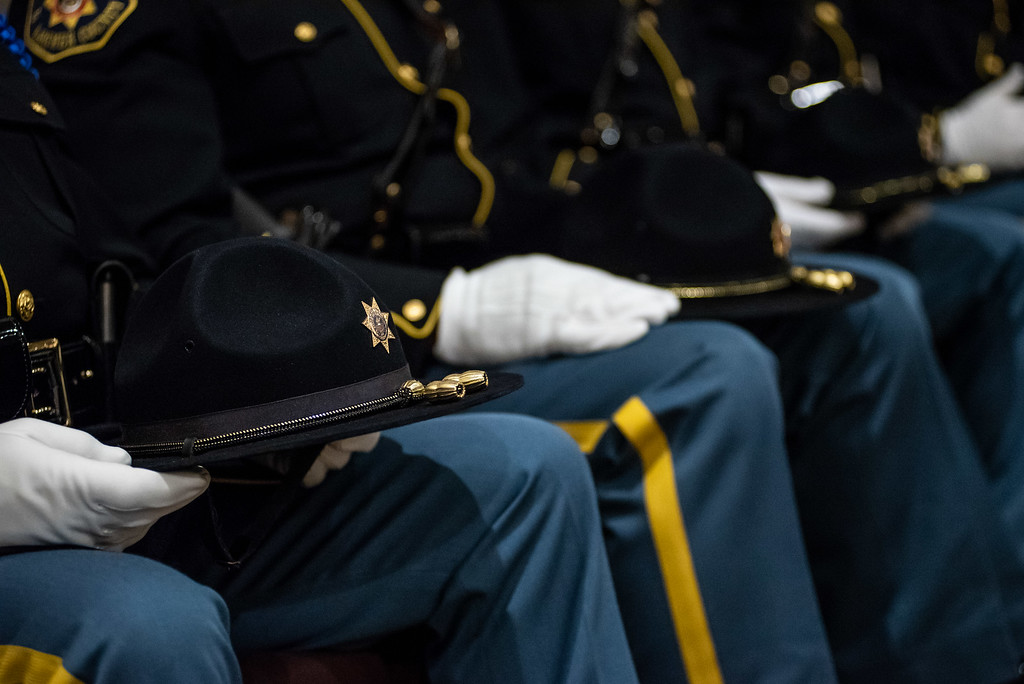 . Members of the Larimer County Sheriffs Department Honor Guard attend a memorial service for County Commissioner Lew Gaiter on Saturday morning at Timberline Church in Fort Collins. Gaiter who served the community passed away after a battle with cancer.
