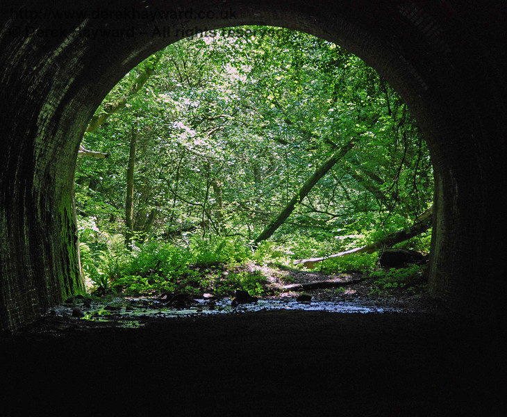 Despite it's very remote location it was disappointing to find graffiti on Cinder Hill Tunnel, and many beer cans scattered around. This view looks south through the tunnel with a long lens.
