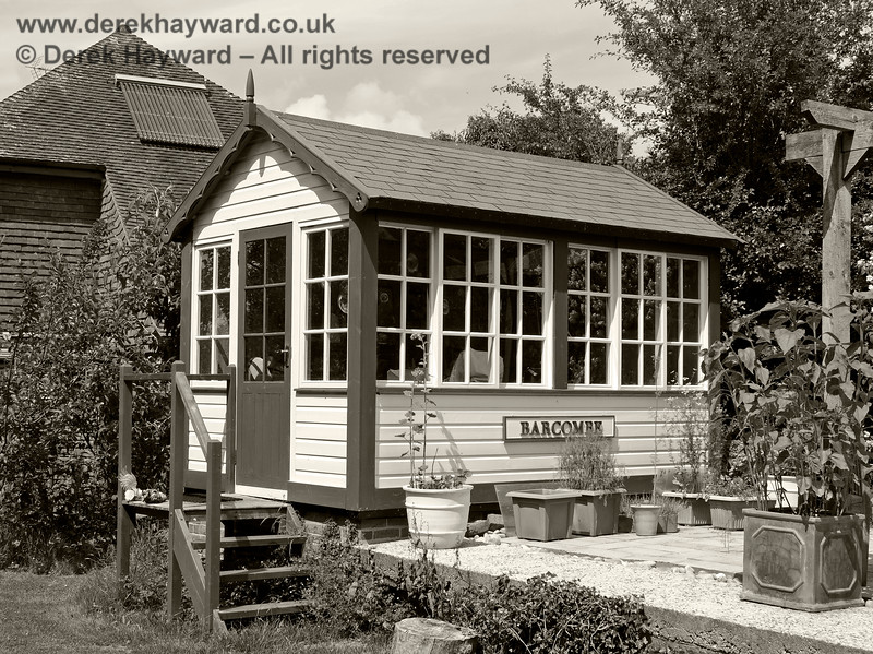 The new signal box at Barcombe Station. 20.06.2020 20433/BW  Please note that this is private property.  Images taken by arrangement, and with the permission of the owners.