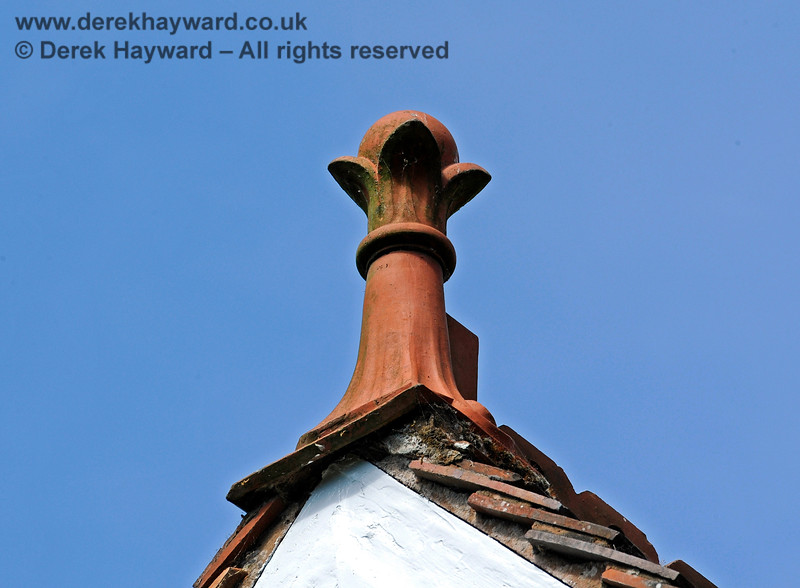 One of the ornate finials on the roof of Barcombe Station. 20.06.2020 17977  Please note that this is private property.  Images taken by arrangement, and with the permission of the owners.