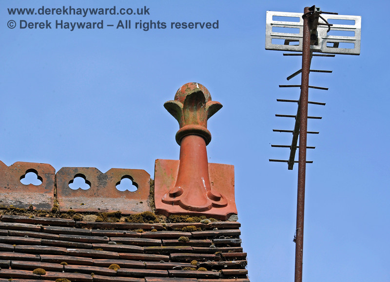 One of the ornate finials on the roof of Barcombe Station. The TV aerial is not thought to date from 1882 (and it needs repair).  20.06.2020 17978  Please note that this is private property.  Images taken by arrangement, and with the permission of the owners.