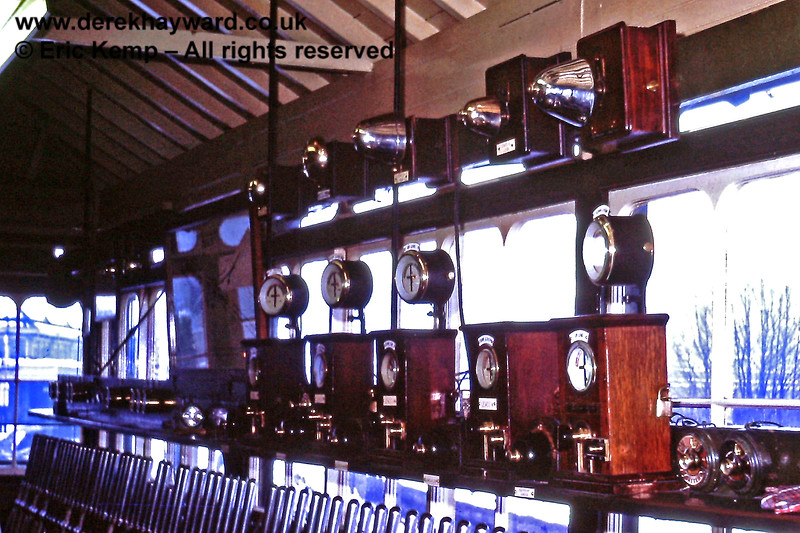 Inside the 'B' signal box at Lewes showing the block instruments and bells. 01.01.1971.