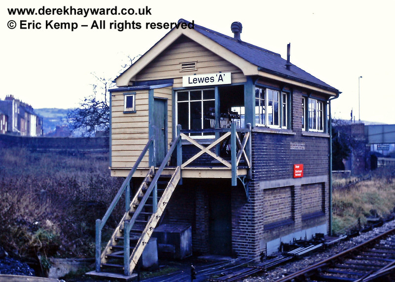Lewes 'A' Signal Box, pictured on 01.01.1969.  The box was at the north western end of the station alongside the lines to London.