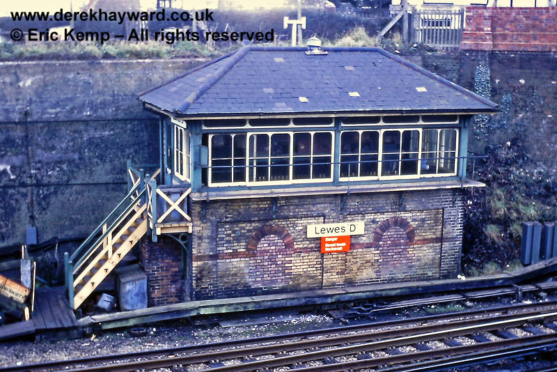 Lewes 'D' Signal Box, located at the Brighton end of station. 01.01.1969