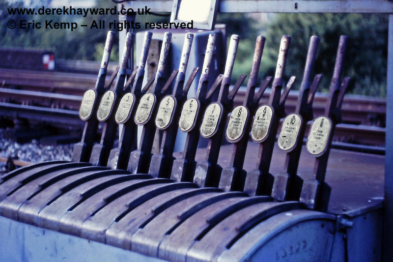 A closer view of Southerham Ground Frame in July 1987.  The apparatus was ex-LSWR and was later used by the Bluebell Railway in the (now decommissioned) signal box south of Kingscote Station.
