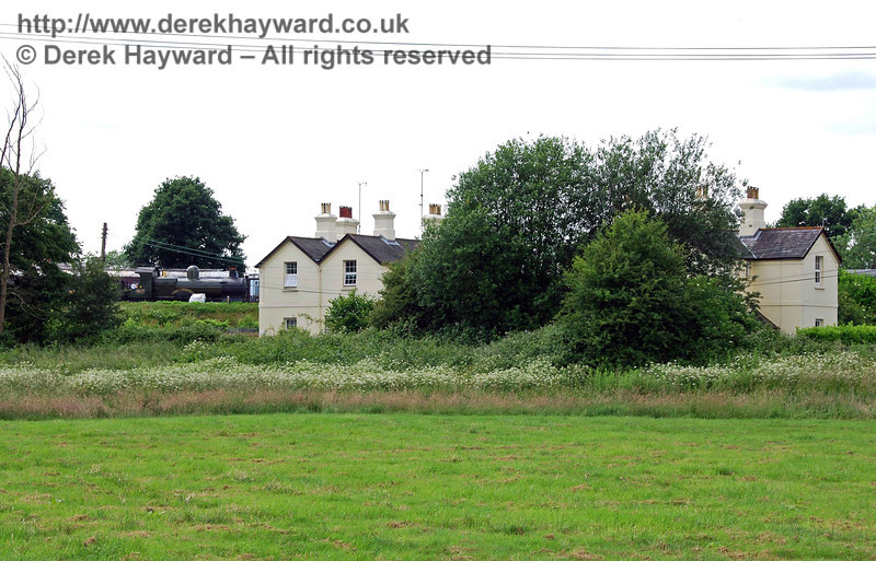 The same cottages can also be seen from the public footpath beside the River Ouse. In this shot 9017 is standing in the yard.
