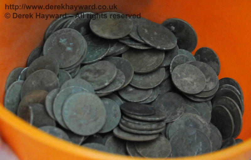 """Some relics recovered during the landscaping and digging. In this case a """"hoard"""" of coins. Newick & Chailey 28.07.2014 11331"""