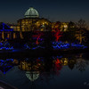 GardenFest of Lights 2013-14, Lewis Ginter Botanical Garden; cold night, with lots of people; Carol & Isabella went with us; polarizer & tripod for all photos, many 30-second exposures, and had to vary aperture and ISO to work within 30-second metering limit; Conservatory reflected in lake