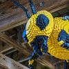 Nature Connects: Art with LEGO Bricks, by NY artist Sean Kenney, exhibit of 27 Lego structures in 14 displays throughout Lewis Ginter Botanical Garden grounds May 27-September 18; award-winning in prior venues, the structures used a half-million Lego bricks, total; bumblebee, suspended from ramp to Treehouse from Cherry Tree Walk, between Children's Garden & Sydnor Lake, consists of 16,383 Legos