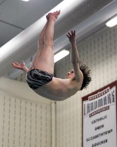 Lewisburg's Erik Temple flies through the air during diving practice at Susquehana University on Thursday.
