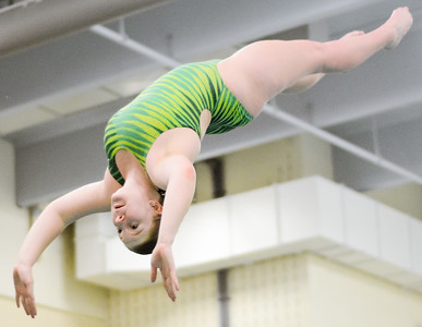 Lewisburg's Brittany McVicar flies through the air during diving practice on Thursday night at Susquehanna University.