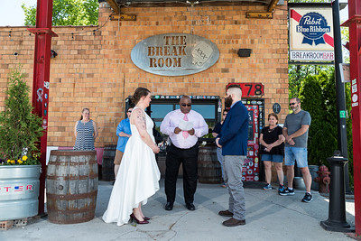 Becky & Kyle's wedding day at Lexington's Distillery District.