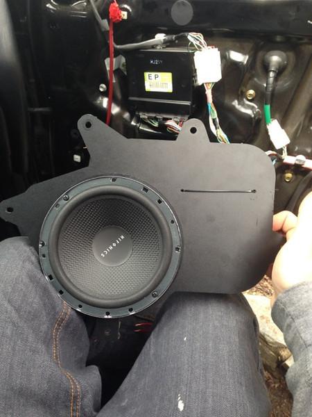 """Aftermarket speaker mounted to speaker adapter bracket  from  <a href=""""http://www.car-speaker-adapters.com/items.php?id=SAK002""""> Car-Speaker-Adapters.com</a>"""