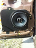 "Aftermarket speaker and  speaker adapter bracket   from  <a href=""http://www.car-speaker-adapters.com/items.php?id=SAK003""> Car-Speaker-Adapters.com</a>   installed on door"