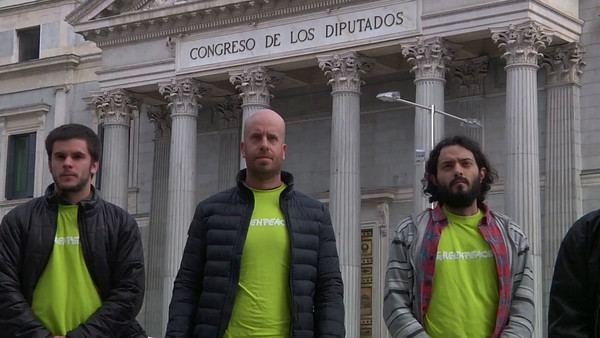 Acción en el Congreso de los Diputados de  Madrid contra las leyes mordaza
