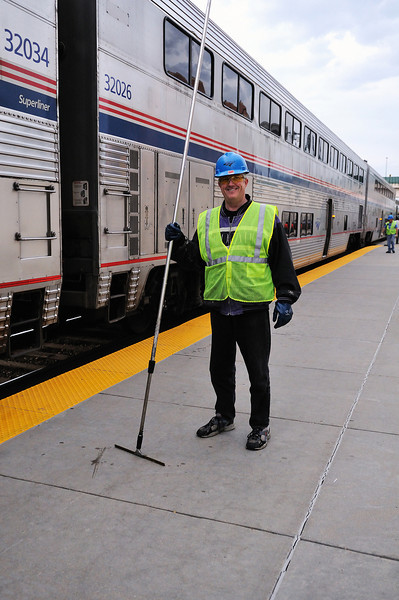 Amtrak window washer, Denver <br /> Photo (c) Liane Brandon