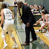 STAAN HUDY - SHUDY@DIGITALFIRSTMEDIA.COM<br /> Coach Darren Bennett yells to Haley English during the Liberty League women's basketball tournament final Sunday Feb. 25, 2018. Skidmore vs. RIT at the Williamson Center on the Skidmore College campus.
