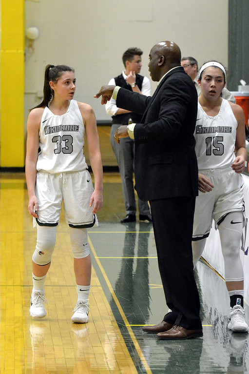 . STAAN HUDY - SHUDY@DIGITALFIRSTMEDIA.COMVeronica Moceri and Coach Darren Bennett during the Liberty League women\'s basketball tournament final Sunday Feb. 25, 2018. Skidmore vs. RIT at the Williamson Center on the Skidmore College campus.