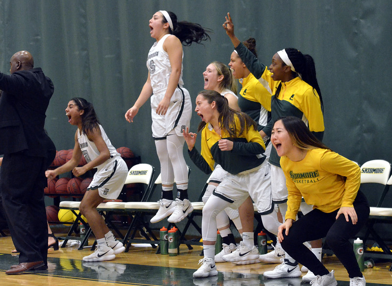 STAN HUIDY - SHUDY@DIGITALFIRSTMEDIA.COM<br /> The Thoroughbred bench reacts to another score late in the game Sunday afternoon at the Williamson Center on the Skidmore College Campus duirng the 2018 Liberty League title game. Feb. 25, 2018.