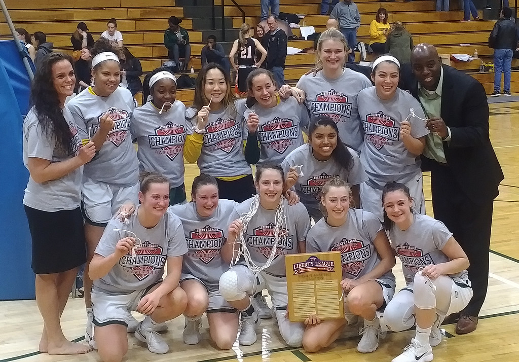 . STAN HUDY - SHUDY@DIGITALFIRSTMEDIA.COMThe SKidmore Women\'s basketball team and coaching staff are all smiles after the Thoroughbreds captured the Liberty League tournament title at home Sunday afternoon. and earn a berth in the NCAA DIII tournament.