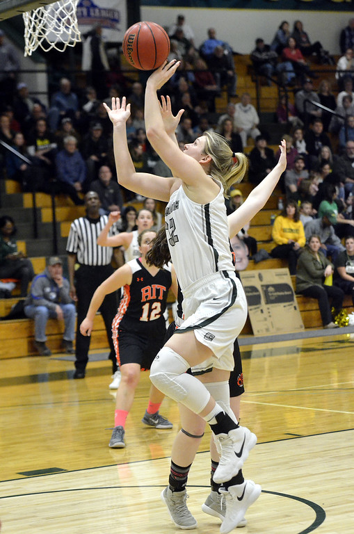 . STAAN HUDY - SHUDY@DIGITALFIRSTMEDIA.COMLily Berg during the Liberty League women\'s basketball tournament final Sunday Feb. 25, 2018. Skidmore vs. RIT at the Williamson Center on the Skidmore College campus.