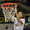 STAAN HUDY - SHUDY@DIGITALFIRSTMEDIA.COM<br /> Jessica Centore cuts down a piece of the net at the end of the Liberty League women's basketball tournament final Sunday Feb. 25, 2018.