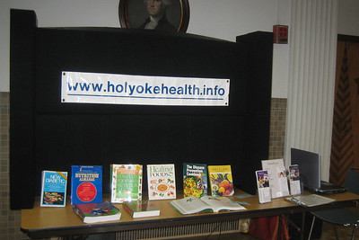July 25, 2006.    Display of health and nutrition books beside our HCHL laptop with Internet access to www.holyokehealth.info.
