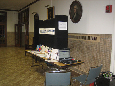 Holyoke Consumer Health Library portable search station and display.