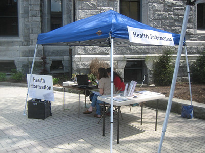 The Health Librarian is open for business -- helping a woman find information about her son's medications.