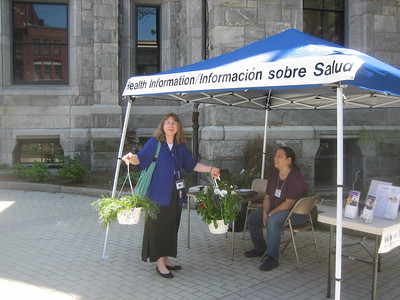 Gail Gramarossa stopped by after purchasing  some beautiful plants. May 25 = Flower Power Day at Holyoke Farmers' Market.