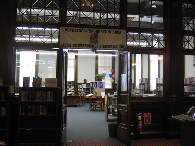 Entrance to Reference Room, HPL. Feb 21 with balloons on first day of Health Information Week.