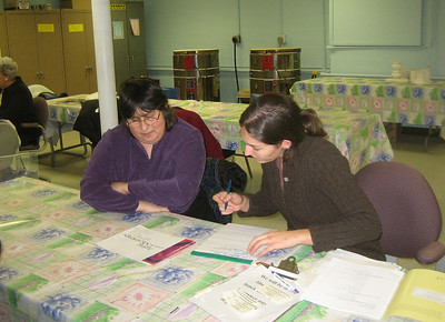 Stephanie Merrick, RN, and Kathleen Parkard, librarian.