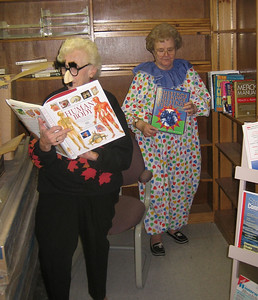 Seniors enjoying the new books, Oct 31, 2005.