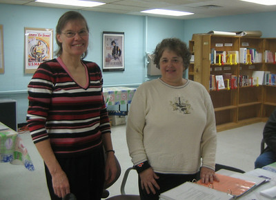 Sandy Ward and Beth Reardon, Jan 27, 2006. Beth (now retired)  had created the Caregivers Resource Library a few years before. Our project builds on what she started.